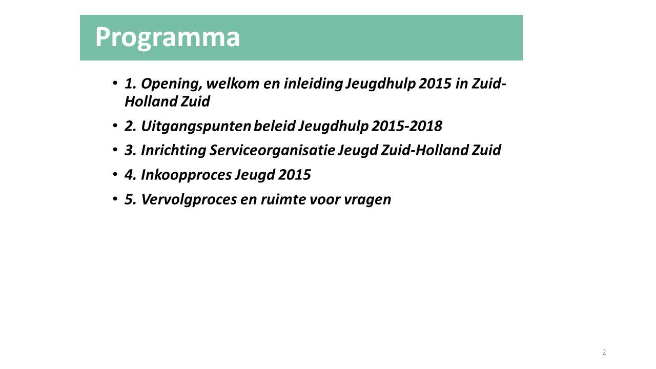Programma 1. Opening, welkom en inleiding Jeugdhulp 2015 in Zuid- Holland Zuid. 2. Uitgangspunten beleid Jeugdhulp 2015-2018.
