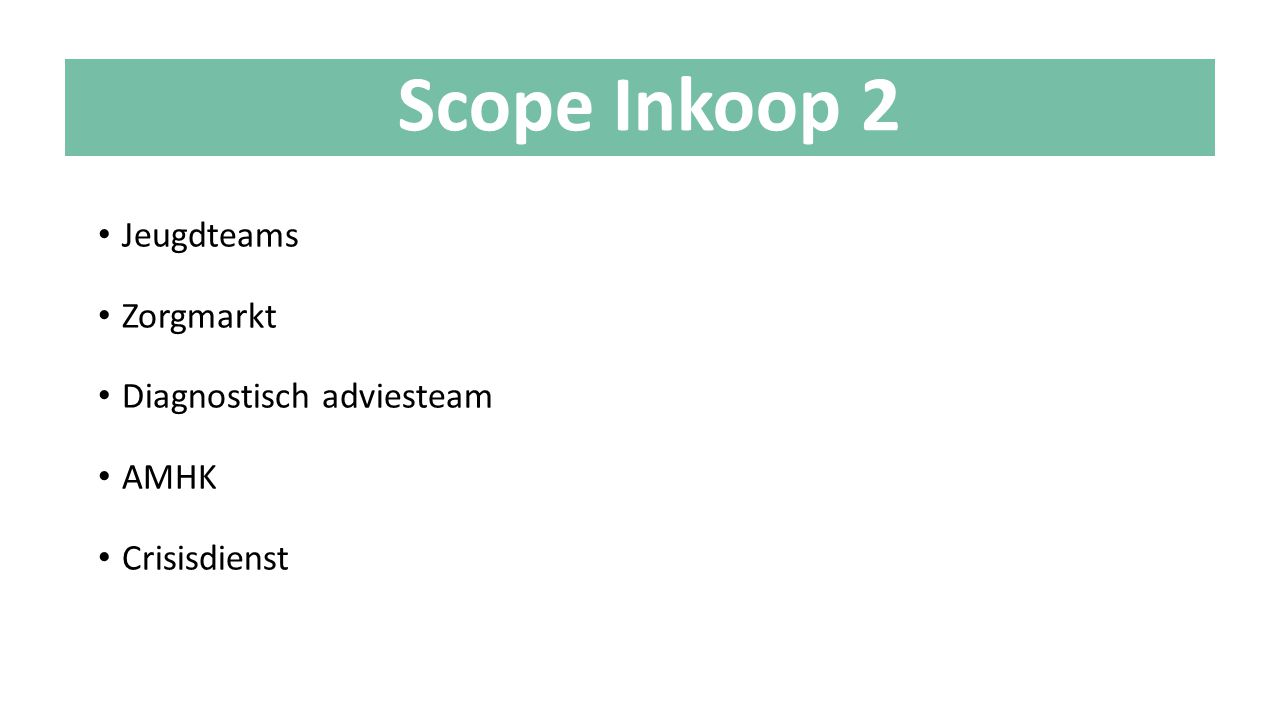 Scope Inkoop 2 Jeugdteams Zorgmarkt Diagnostisch adviesteam AMHK