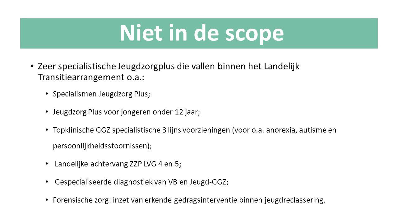 Niet in de scope Zeer specialistische Jeugdzorgplus die vallen binnen het Landelijk Transitiearrangement o.a.:
