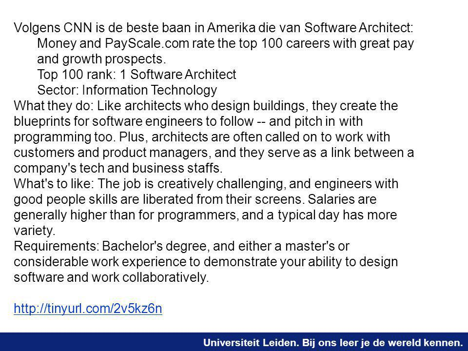Volgens CNN is de beste baan in Amerika die van Software Architect: