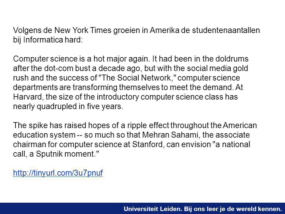 Volgens de New York Times groeien in Amerika de studentenaantallen bij Informatica hard: