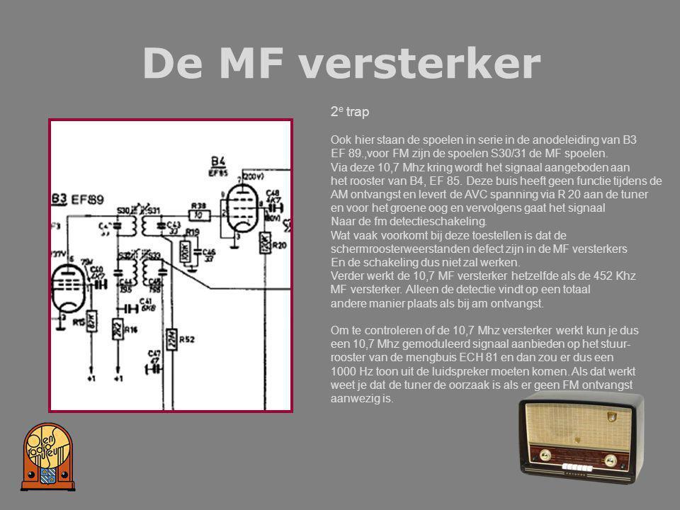 De MF versterker 2e trap. Ook hier staan de spoelen in serie in de anodeleiding van B3. EF 89.,voor FM zijn de spoelen S30/31 de MF spoelen.