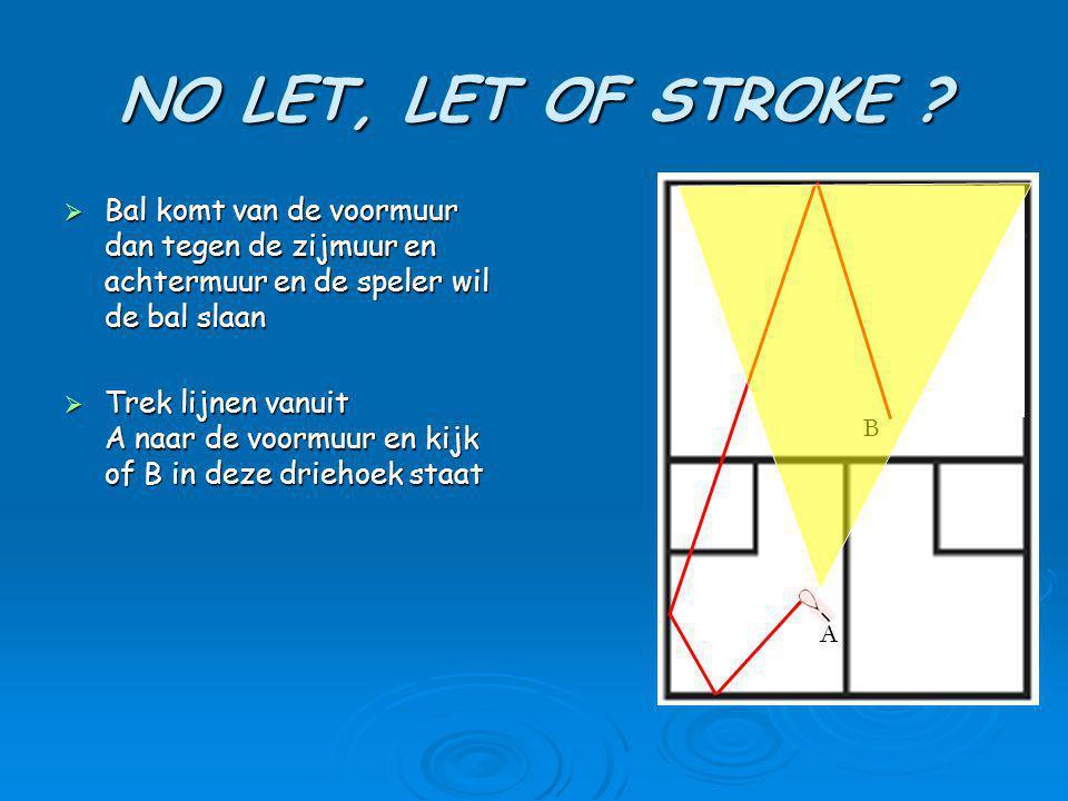 NO LET, LET OF STROKE Bal komt van de voormuur dan tegen de zijmuur en achtermuur en de speler wil de bal slaan.