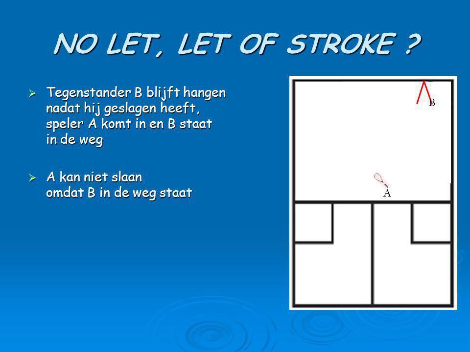NO LET, LET OF STROKE Tegenstander B blijft hangen nadat hij geslagen heeft, speler A komt in en B staat in de weg.