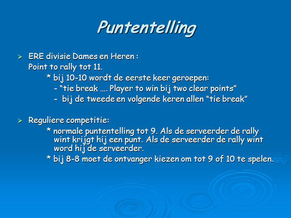 Puntentelling ERE divisie Dames en Heren : Point to rally tot 11.