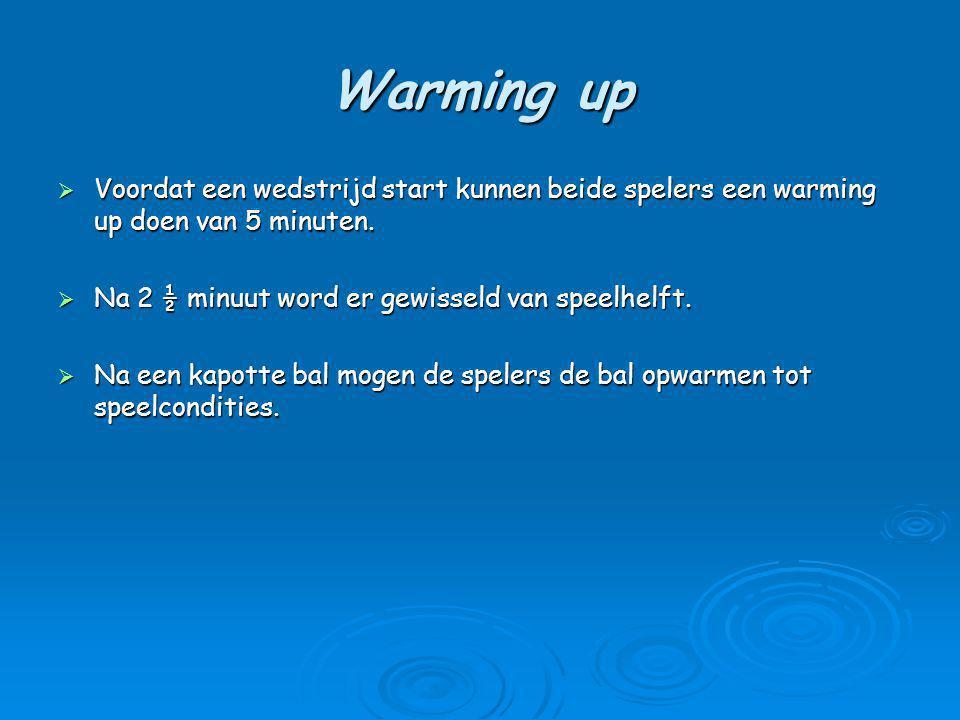 Warming up Voordat een wedstrijd start kunnen beide spelers een warming up doen van 5 minuten. Na 2 ½ minuut word er gewisseld van speelhelft.