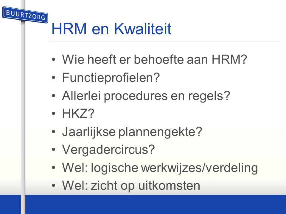 HRM en Kwaliteit Wie heeft er behoefte aan HRM Functieprofielen