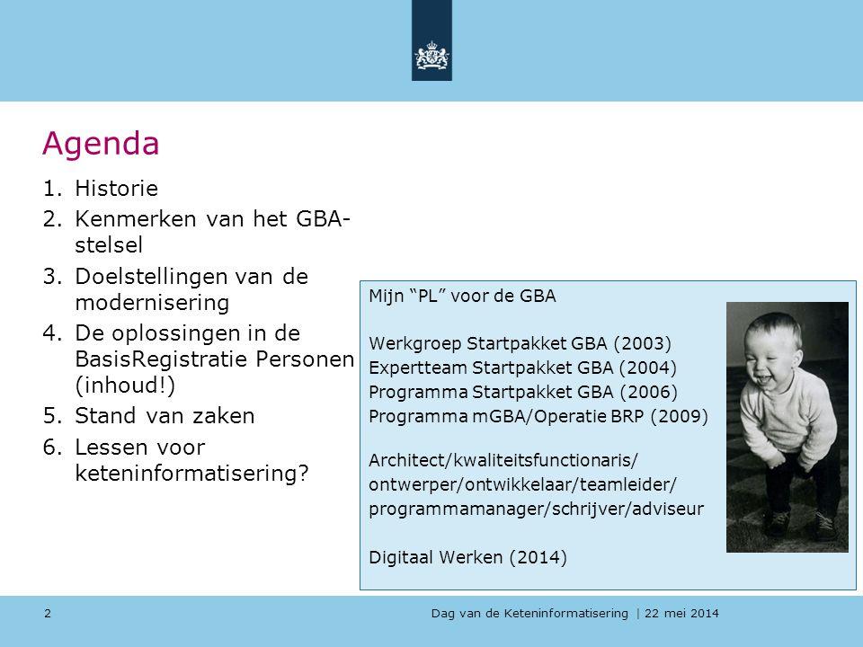 Agenda Historie Kenmerken van het GBA-stelsel