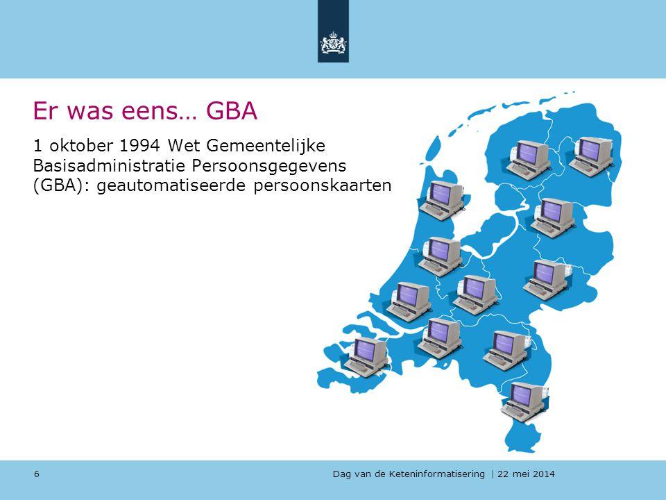 Er was eens… GBA 1 oktober 1994 Wet Gemeentelijke Basisadministratie Persoonsgegevens (GBA): geautomatiseerde persoonskaarten.