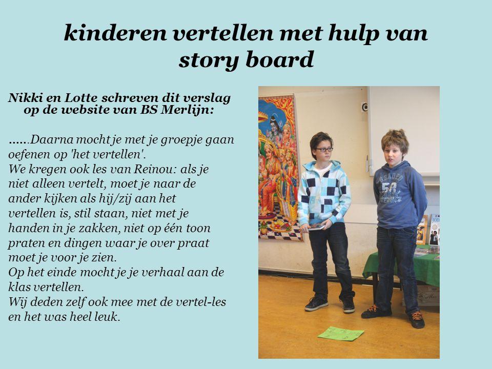 kinderen vertellen met hulp van story board
