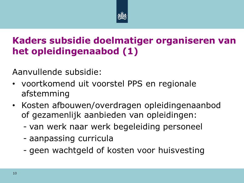 Kaders subsidie doelmatiger organiseren van het opleidingenaabod (1)