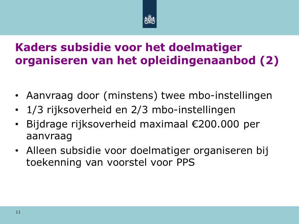 Kaders subsidie voor het doelmatiger organiseren van het opleidingenaanbod (2)