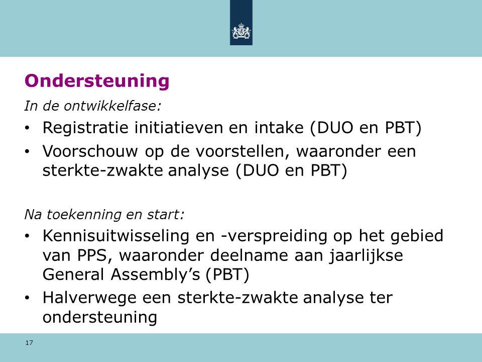 Ondersteuning Registratie initiatieven en intake (DUO en PBT)