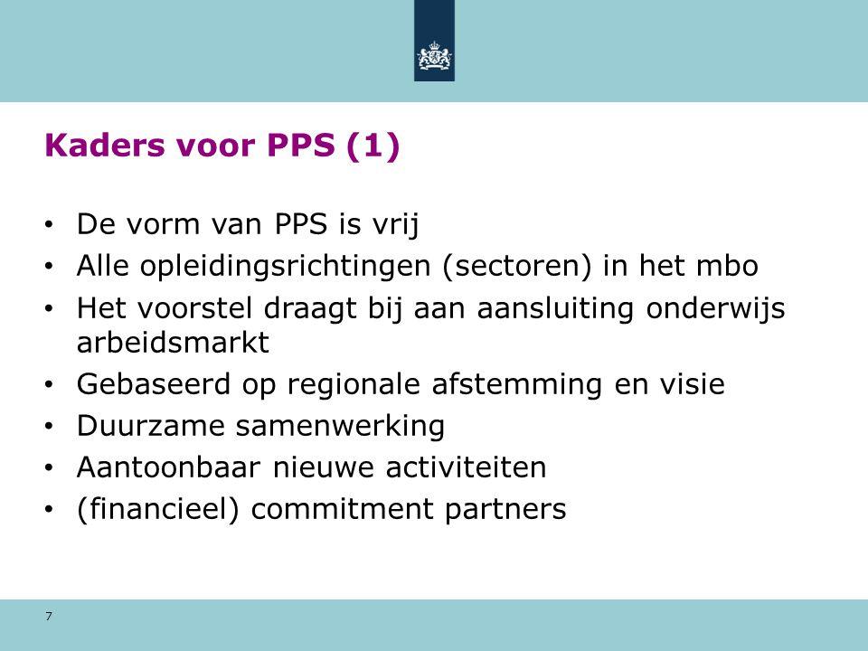 Kaders voor PPS (1) De vorm van PPS is vrij