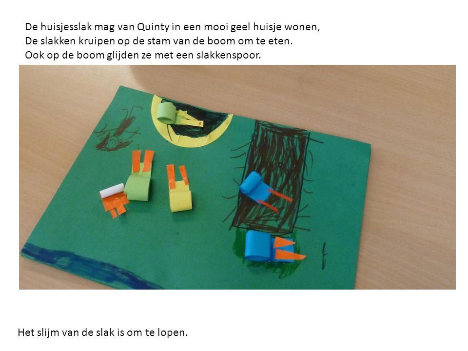 De huisjesslak mag van Quinty in een mooi geel huisje wonen,