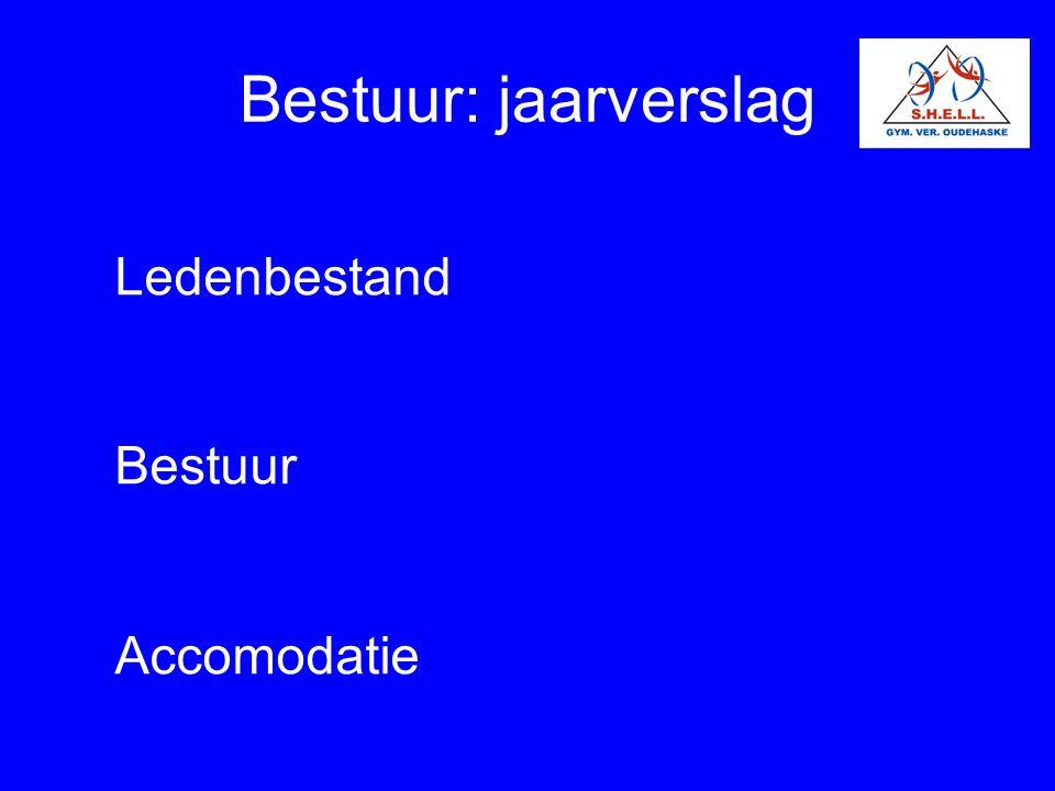 Bestuur: jaarverslag Ledenbestand Bestuur Accomodatie