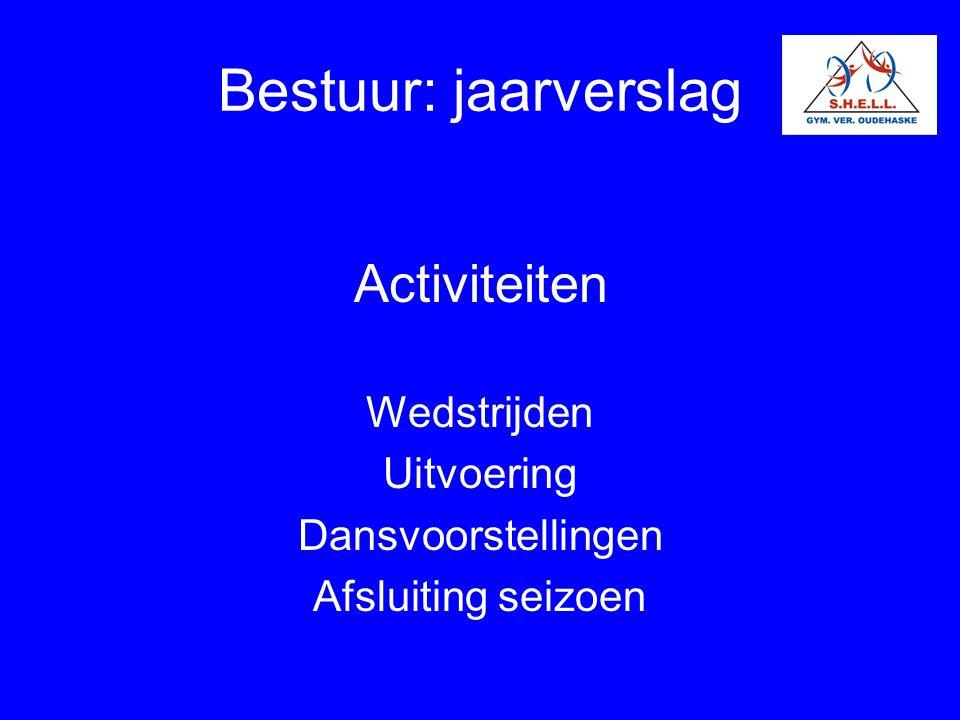 Bestuur: jaarverslag Activiteiten Wedstrijden Uitvoering