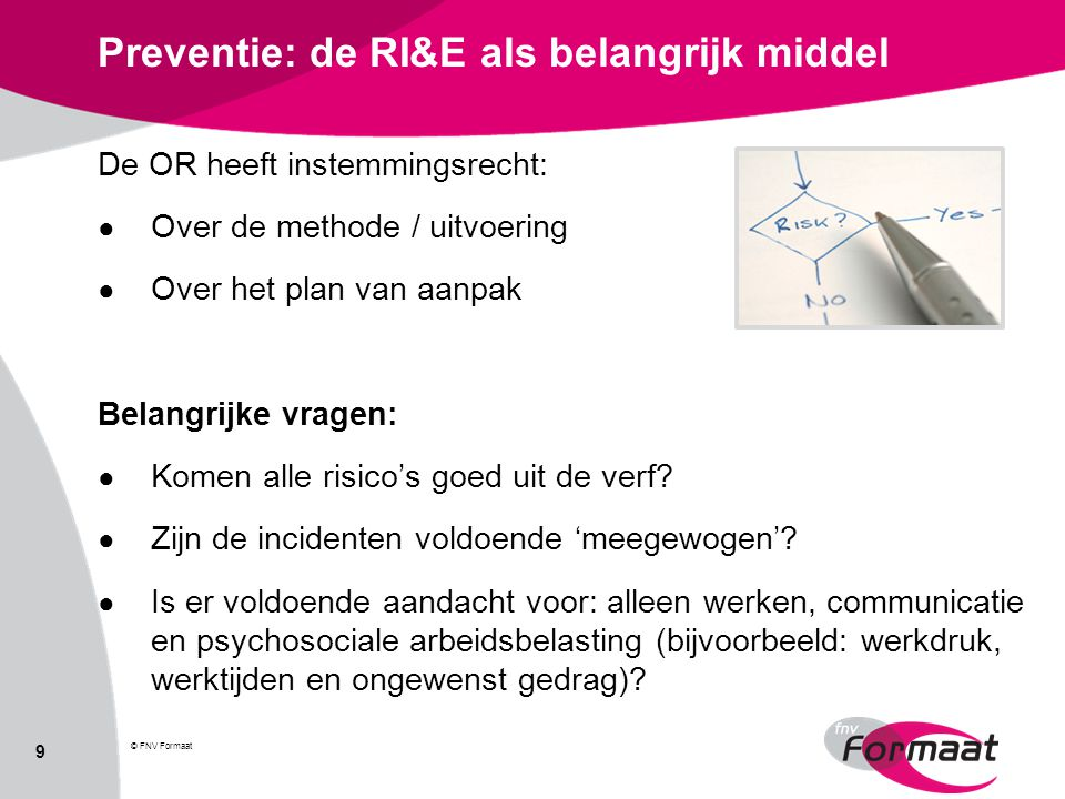 Preventie: de RI&E als belangrijk middel