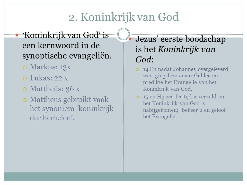 2. Koninkrijk van God 'Koninkrijk van God' is een kernwoord in de synoptische evangeliën. Markus: 13x.