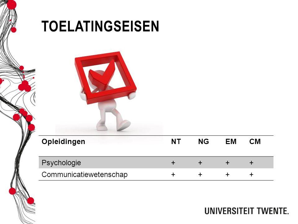toelatingseisen Opleidingen NT NG EM CM Psychologie +