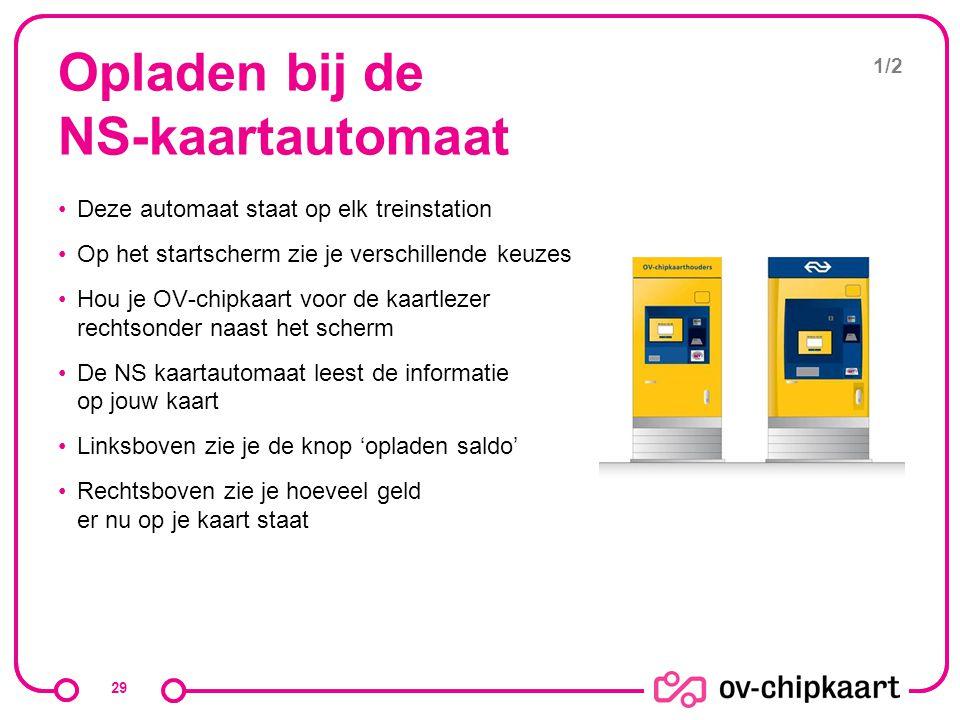 Opladen bij de NS-kaartautomaat