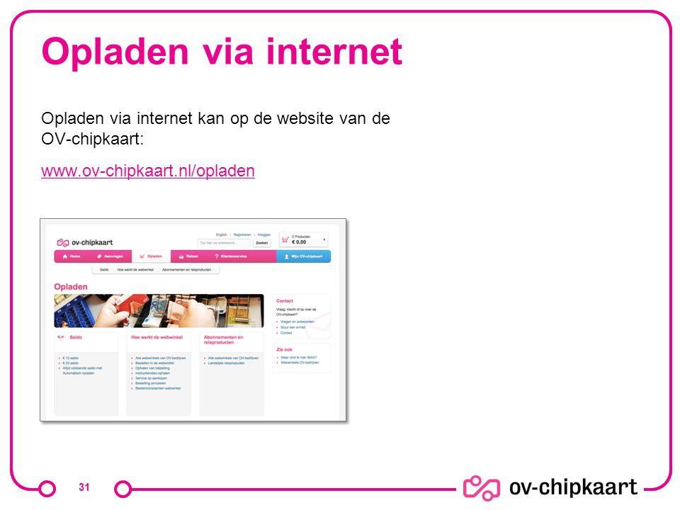 Opladen via internet Opladen via internet kan op de website van de OV-chipkaart: www.ov-chipkaart.nl/opladen.