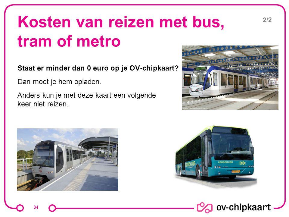 Kosten van reizen met bus, tram of metro