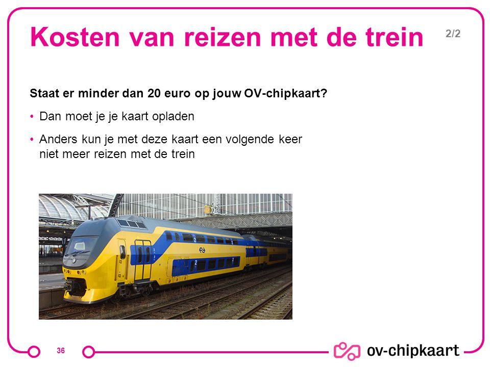 Kosten van reizen met de trein