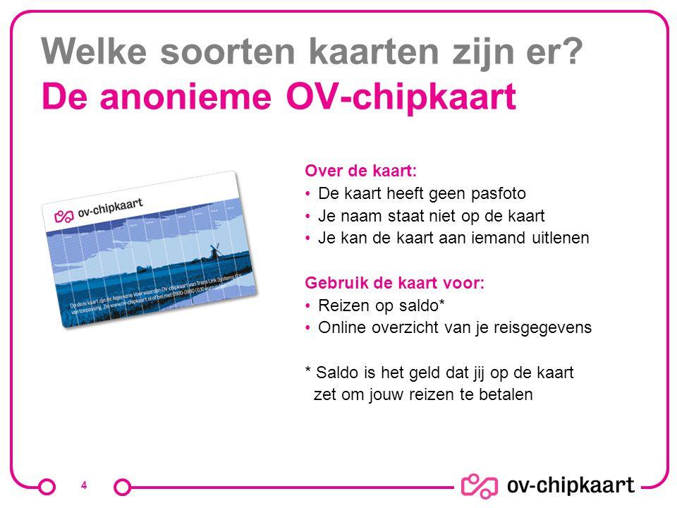 Welke soorten kaarten zijn er De anonieme OV-chipkaart