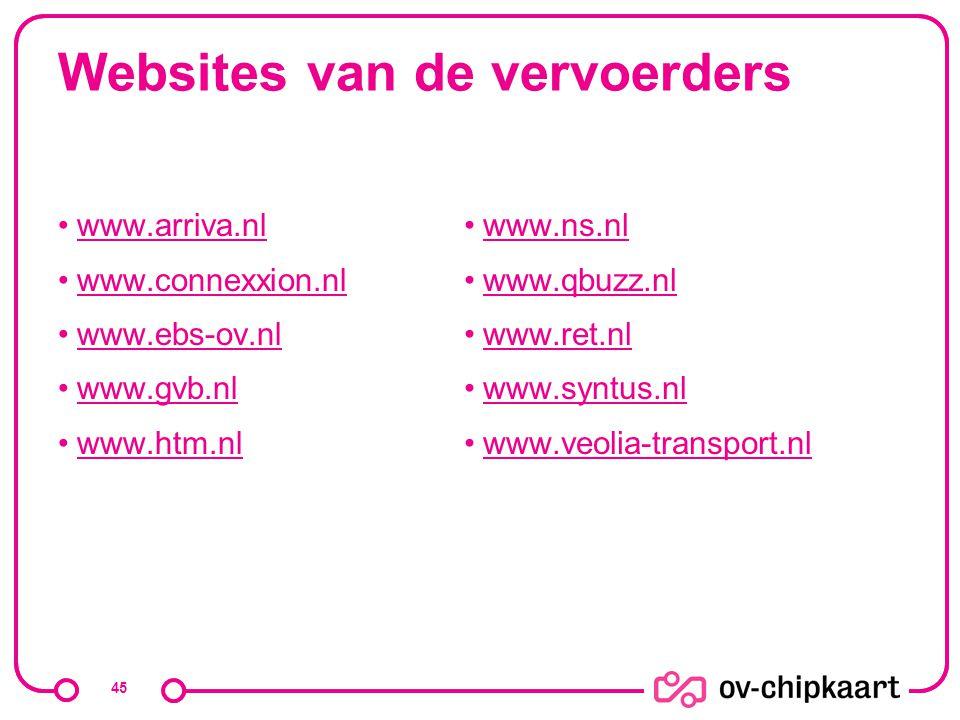 Websites van de vervoerders