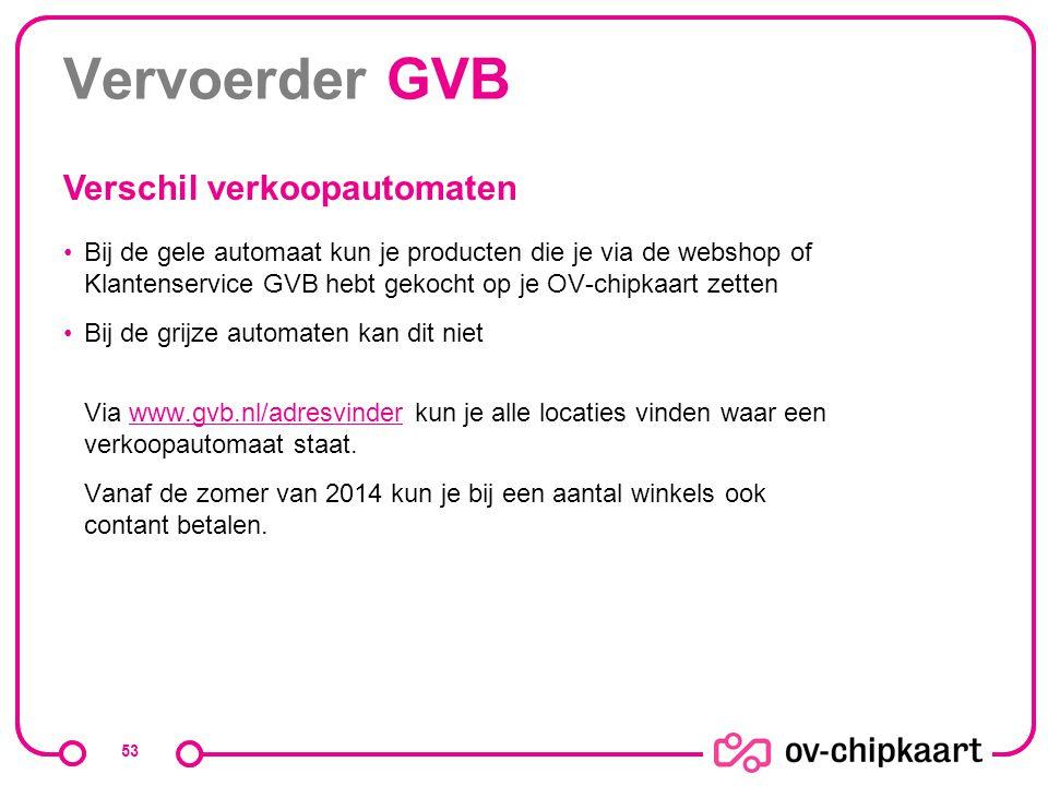 Vervoerder GVB Verschil verkoopautomaten