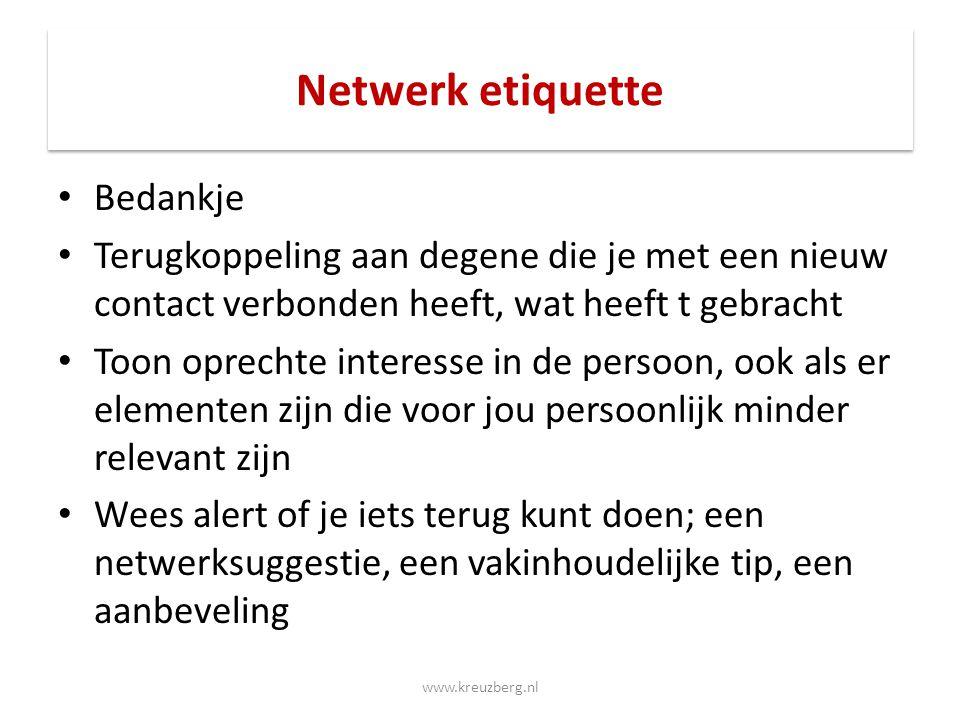 Netwerk etiquette Bedankje