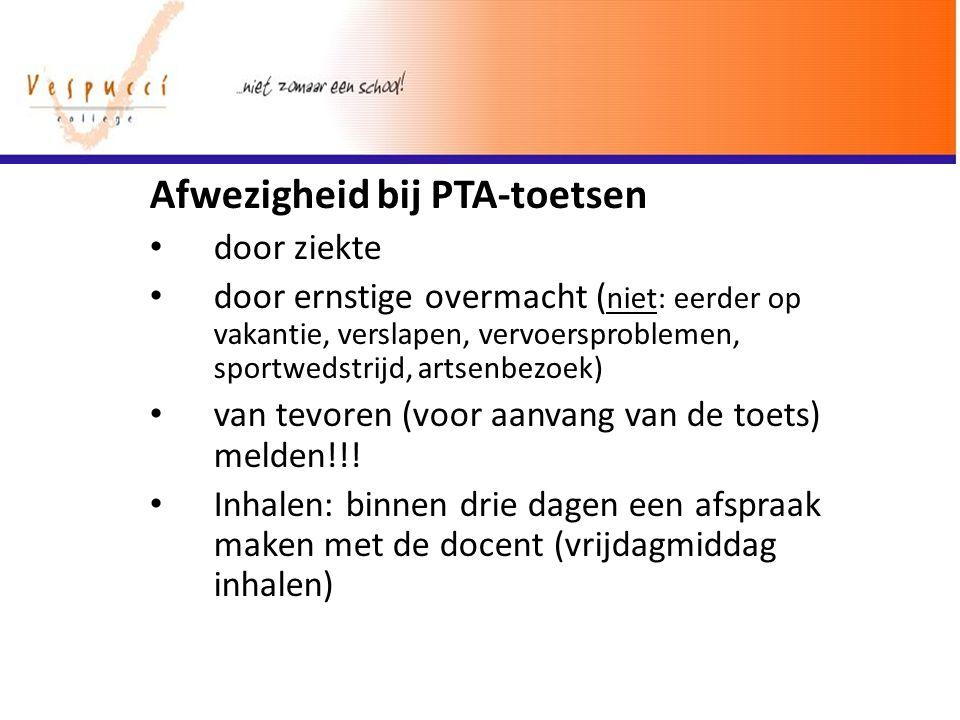 Afwezigheid bij PTA-toetsen