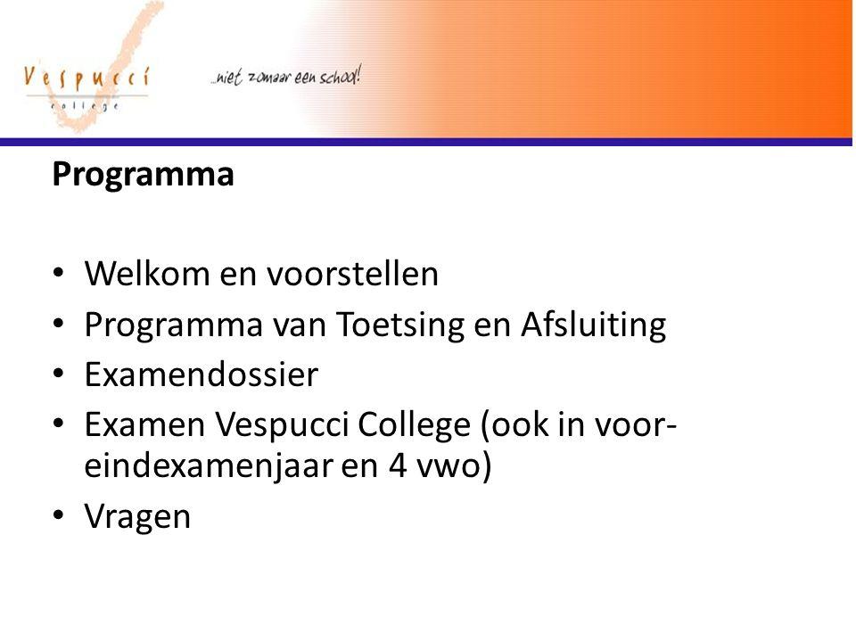 Programma Welkom en voorstellen. Programma van Toetsing en Afsluiting. Examendossier.