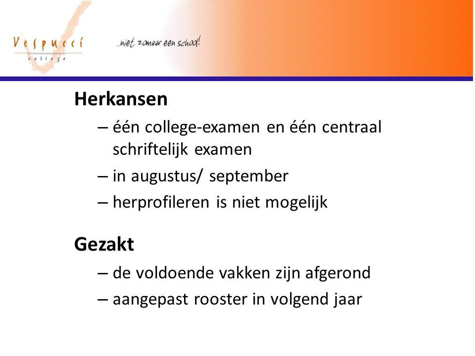 Herkansen één college-examen en één centraal schriftelijk examen. in augustus/ september. herprofileren is niet mogelijk.
