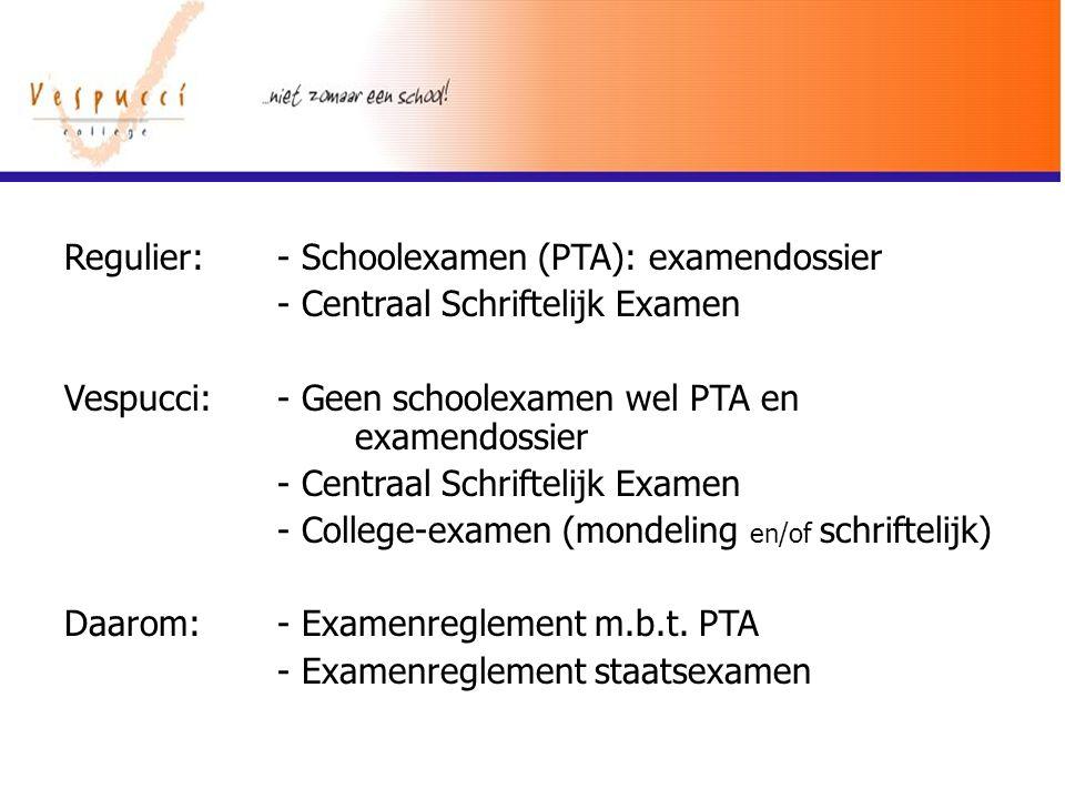 Regulier: - Schoolexamen (PTA): examendossier