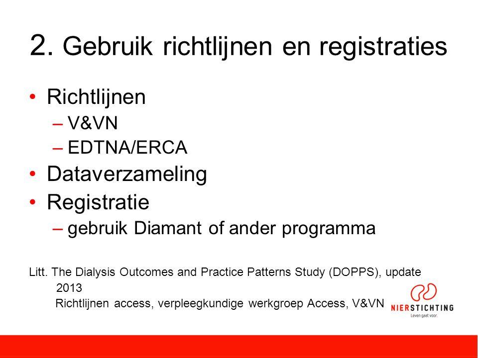 2. Gebruik richtlijnen en registraties