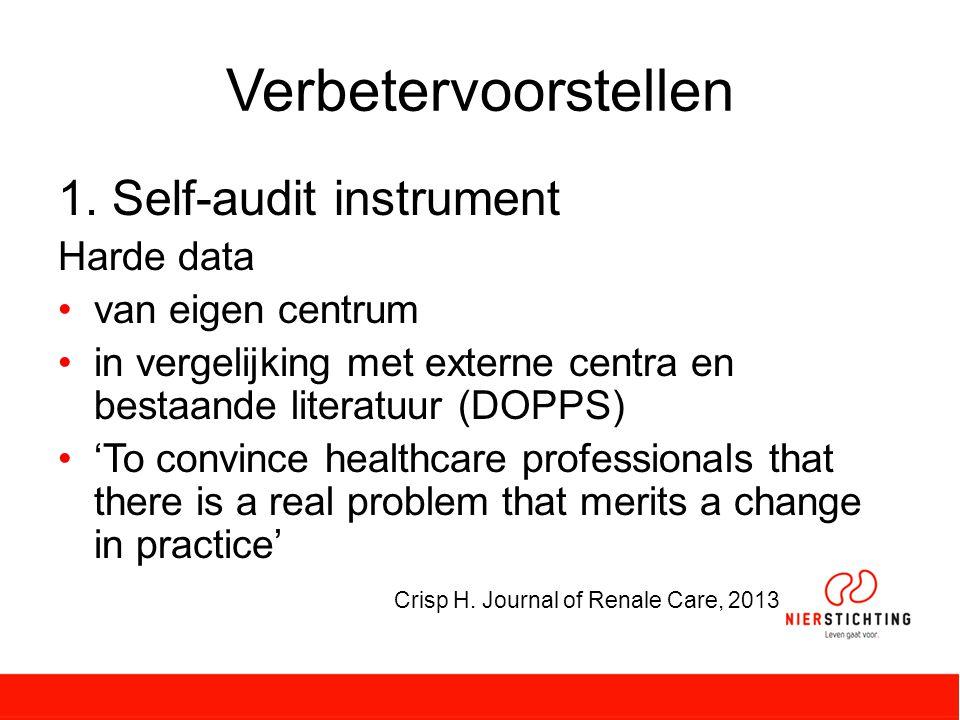 Verbetervoorstellen Self-audit instrument Harde data van eigen centrum