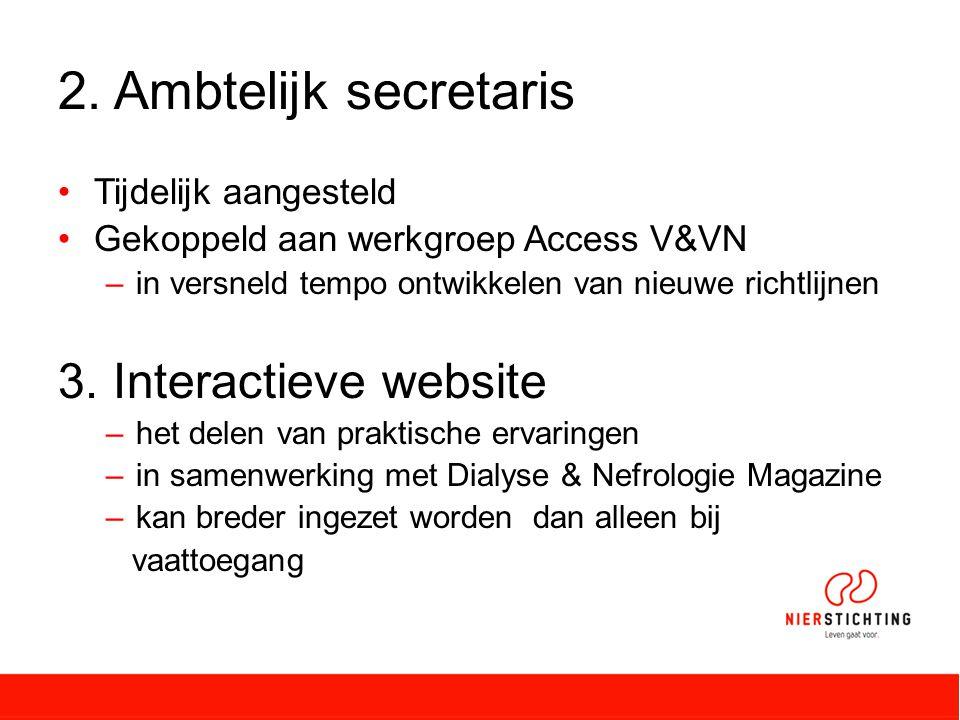 2. Ambtelijk secretaris 3. Interactieve website Tijdelijk aangesteld