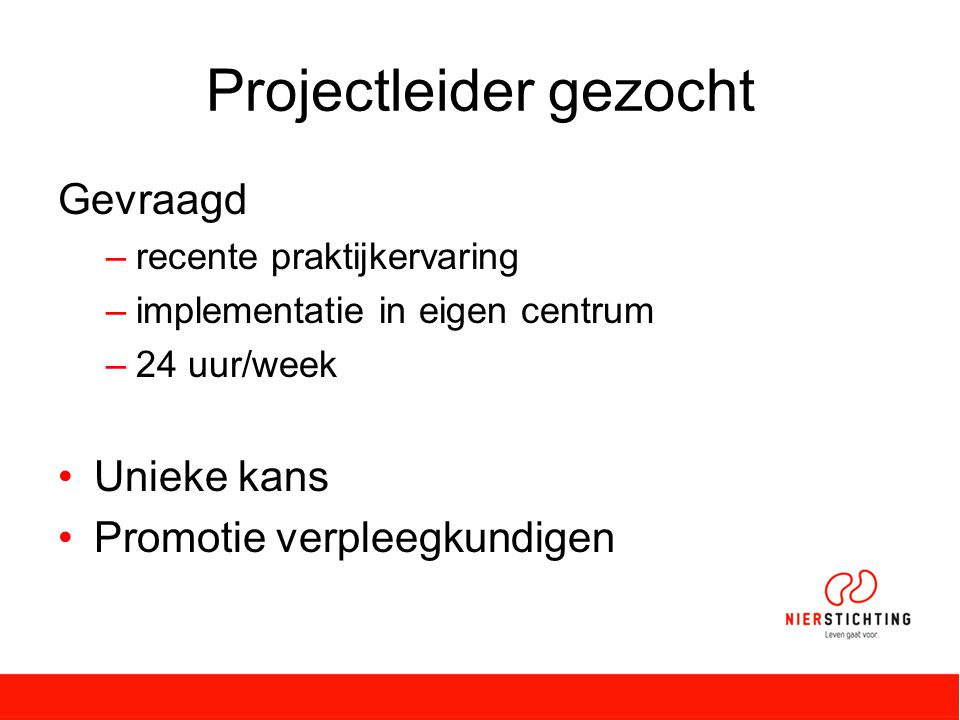 Projectleider gezocht