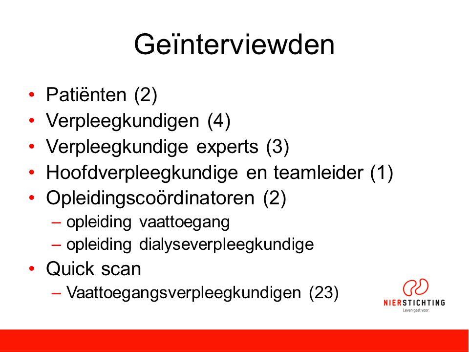 Geïnterviewden Patiënten (2) Verpleegkundigen (4)