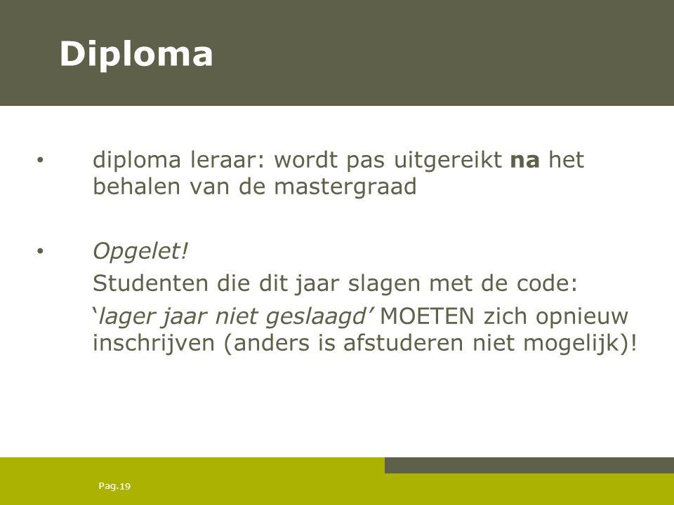 Diploma diploma leraar: wordt pas uitgereikt na het behalen van de mastergraad. Opgelet! Studenten die dit jaar slagen met de code:
