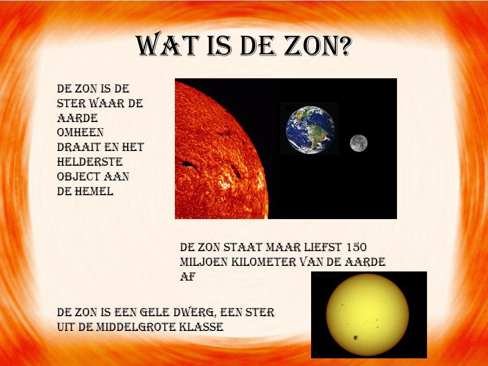 Wat is de zon De Zon is de ster waar de Aarde omheen draait en het helderste object aan de hemel.