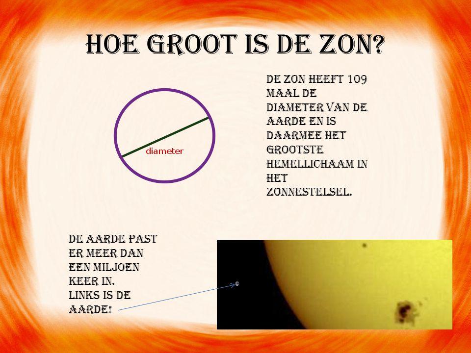 Hoe groot is de zon De zon heeft 109 maal de diameter van de aarde en is daarmee het grootste hemellichaam in het zonnestelsel.