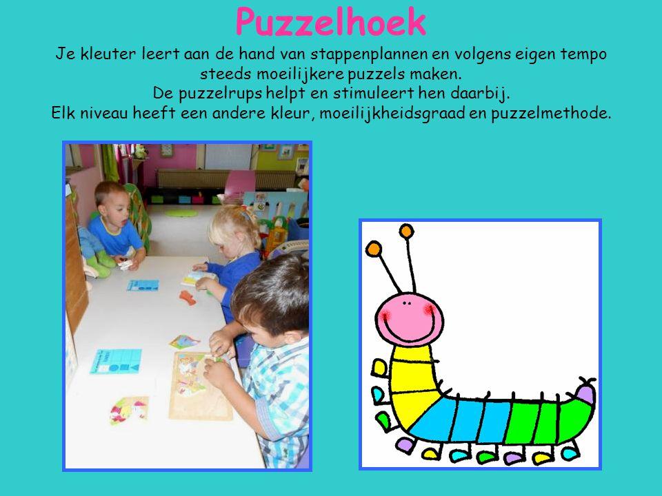 Puzzelhoek Je kleuter leert aan de hand van stappenplannen en volgens eigen tempo steeds moeilijkere puzzels maken.