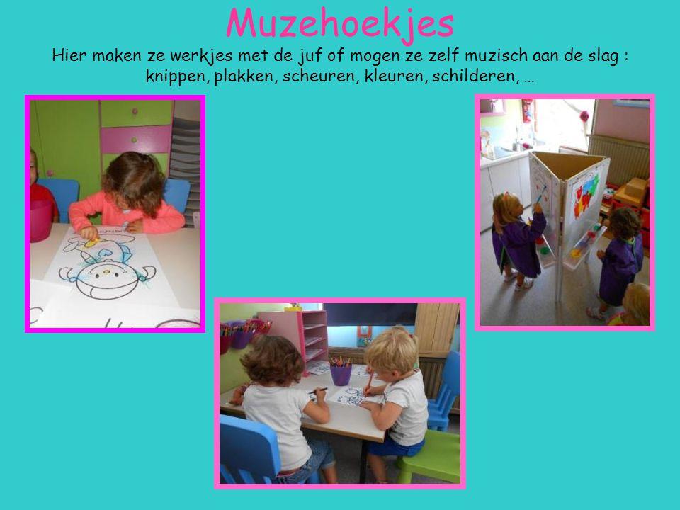 Muzehoekjes Hier maken ze werkjes met de juf of mogen ze zelf muzisch aan de slag : knippen, plakken, scheuren, kleuren, schilderen, …