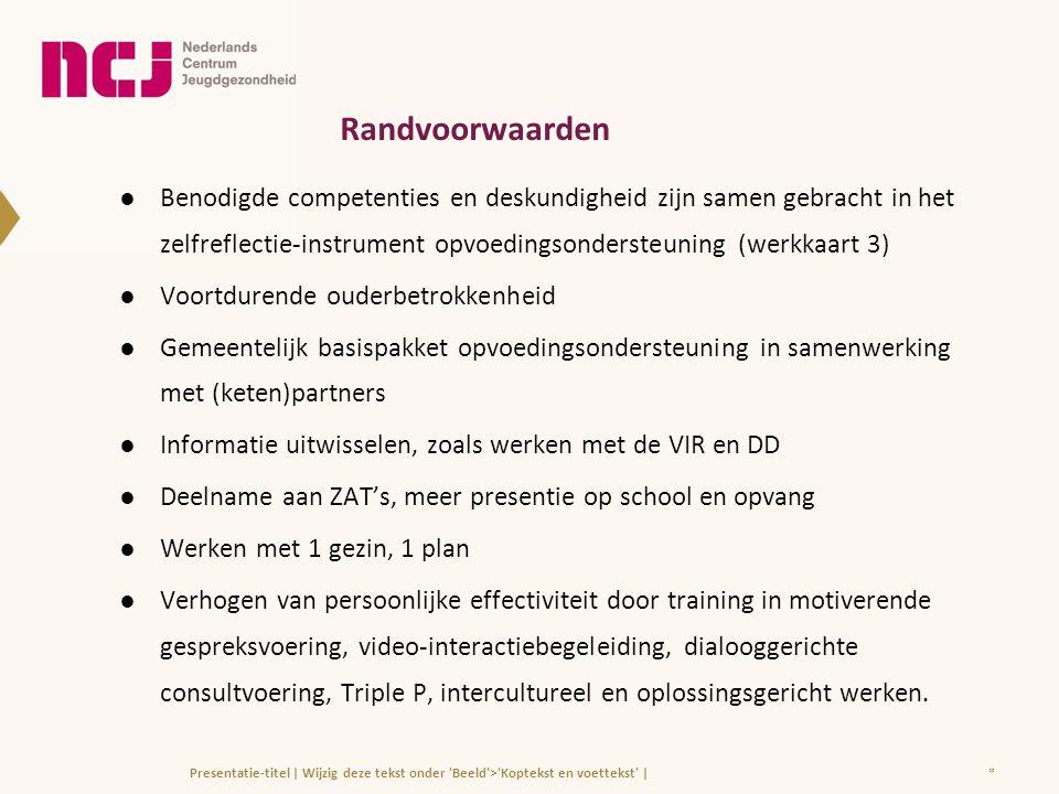 Randvoorwaarden Benodigde competenties en deskundigheid zijn samen gebracht in het zelfreflectie-instrument opvoedingsondersteuning (werkkaart 3)