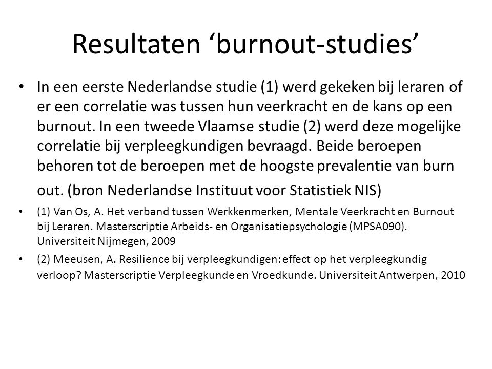 Resultaten 'burnout-studies'