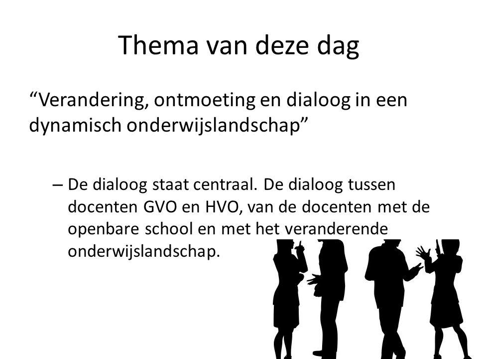 Thema van deze dag Verandering, ontmoeting en dialoog in een dynamisch onderwijslandschap