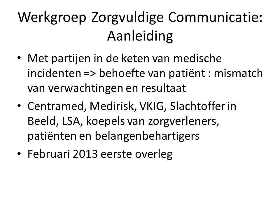 Werkgroep Zorgvuldige Communicatie: Aanleiding
